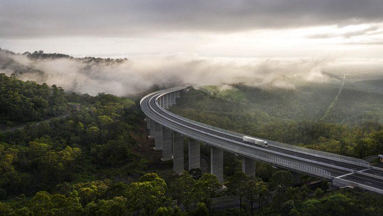 A train traveling over a bridge