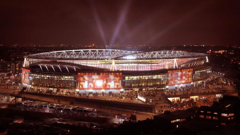 A view of Emirates Stadium at night